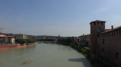 View on Verona accross the river Adige Stock Footage