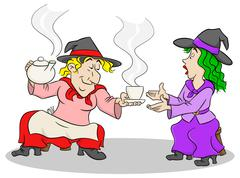 Witches celebrate a halloween party with magic potion Piirros