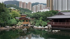 Pond and lanscape in a beautiful modern orient city. Stock Footage