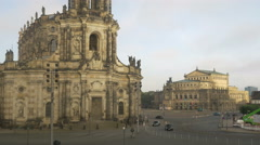 View of Theaterplatz and Semperoper Dresden Stock Footage