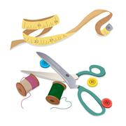 Sewing tools, thread and buttons Stock Illustration
