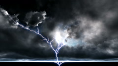 Night cityscape with strong lightning Stock Footage