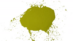 Yellow drops falls and splatters on white. Colored paint Stock Footage