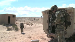 Alaska air National Guard practice a war casualty rescue in the desert. Stock Footage