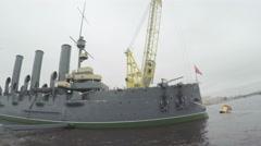 Renovated cruiser Aurora Stock Footage