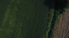 Flying over countryside and irrigation ditch Stock Footage