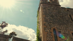 Panning Shot inside the Ramparts of the Windsor Castle with a Lens Flare Stock Footage