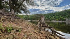 4K timelapse with dam and stump Stock Footage