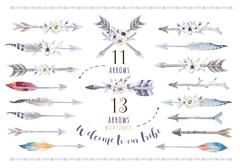 Watercolor ethnic boho set of arrows, feather and flower. Tribe Stock Illustration