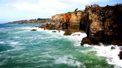 Cliff Waves, Cascais, Lisbon, Portugal, Real Time, 4k Stock Footage