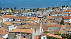 Aerial view of the st Martin village, Ile de Re, France Stock Footage