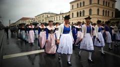 4K 2016 Munich Oktoberfest Octoberfest Parade in rain German Beer Festival Stock Footage