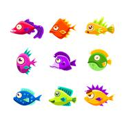 Colorful Cartoon Tropical Fish Collection Piirros