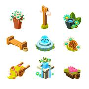 Video Game Garden Landscape Decoration Collection Of Elements Stock Illustration
