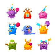 Toy Monsters With Birthday Party Objects Stock Illustration