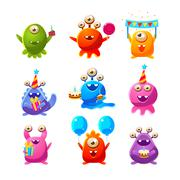 Toy Aliens With Birthday Party Objects Stock Illustration
