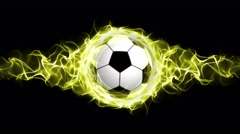 Soccer Ball in Yellow Flames Abstract Particles  Ring, Loop, 4k Stock Footage