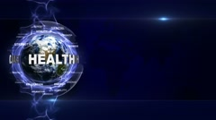 HEALTH Text Animation and Earth, with Keywords, Loop, 4k Stock Footage