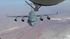 An Air Force C-17 refuels in midair. Stock Footage