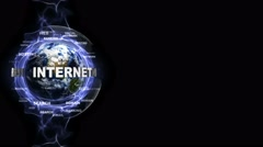 INTERNET Text Animation and Earth, with Keywords, Loop, 4k Stock Footage
