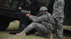 Soldiers compete to see who is the most accurate marksman. Stock Footage