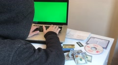 Hacker Cyber Crime Scene. Green Screen Notebook Stock Footage