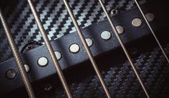 Strings of a Jazz Bass Guitar Stock Photos