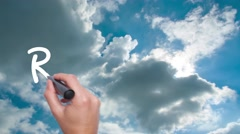 Real Estate -  cloud with a blue sky. Man Hand writing  with black marker on  Stock Footage