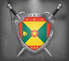 Flag of Grenada. The Shield Has Flag Illustration. Vector Medieval Background Stock Illustration