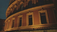 Closeup Night View of the Royal Albert Hall in London, UK Stock Footage