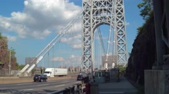 Bike the George Washington Bridge Stock Footage