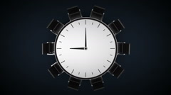 Conference table changes tme watch, indicated 9 o'clock. business room. Stock Footage