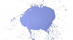 Blue drops falls and splatters on white. Colored paint Stock Footage