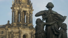 Statue with Katholische Hofkirche in background Dresden Stock Footage