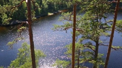 Landscape lake on the famous Valaam Island in Russia Stock Footage
