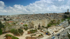 View to Damascus Gate and old Jerusalem City. Panning shot. UHD, 4K Stock Footage