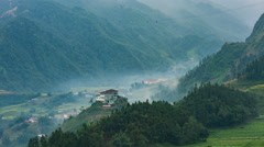 Time lapse - view point with cloud flowing in the mist at Sapa , Vietnam-pan Stock Footage