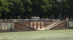 Adige river with Ponte Pietra (Stone Bridge) in Verona Stock Footage