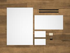 Stationery 3D illustration branding mock-up with letterhead on wood Stock Illustration
