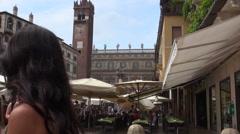 Verona marketplace at Piazza delle Erbe Stock Footage