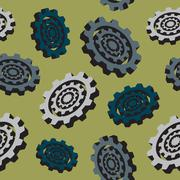 Abstract colored cogwheels - seamless pattern Stock Illustration