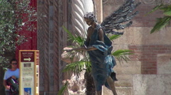 Angel Statue outside Verona Cathedral in Verona Stock Footage