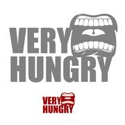 Very hungry. Open mouth with his lips. Logo for empty. Man chewing food Stock Illustration