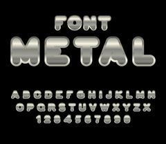 Metal font. ABC of iron. Steel alphabet. Metallic shimmering letters. Chrome  Stock Illustration