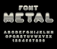 Metal font. ABC of iron. Steel alphabet. Metallic shimmering letters. Chrome  Stock Illustration
