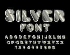 Silver font. ABC of argent. Precious metal alphabet. Metallic shimmering lett Stock Illustration