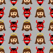 Jesus and Satan seamless pattern. Christ and red devil with horns ornament. S Stock Illustration