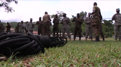 U.S. Army and National Guard troops train Jamaicans in basic skills. Stock Footage