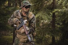 Special Forces soldier with assault rifle Stock Photos