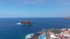 Garachico pools, aerial view of Tenerife coastline, Canary Islands Stock Footage
